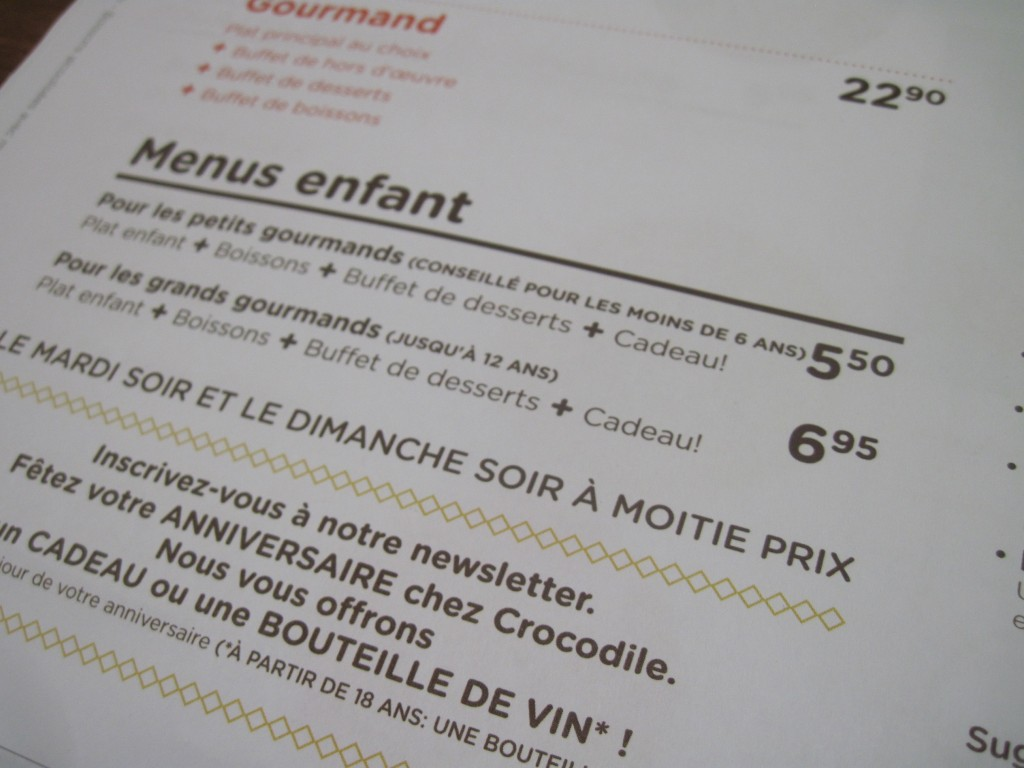 menu enfant crocodile